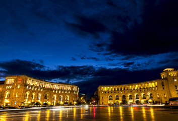 Republic Square at night in Yerevan, Armenia