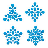 Snowflakes from water droplets. Symbol.