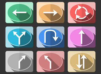 Traffic sign flat icons set