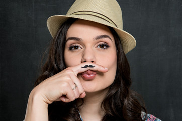 Woman With Vintage Moustache