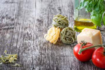 Pasta ingredients on a wooden table