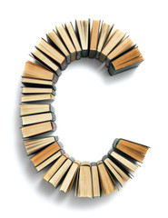 Letter B formed from the page ends of books