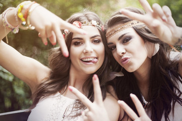 Portrait of crazy beautiful boho girls