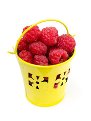 small bucket with raspberries