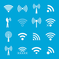 set of white wifi icons on blue background