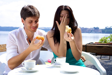 Couple laughing in vacation