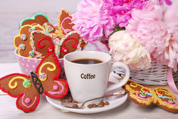 coffee and butterfly shaped gingerbread cookies