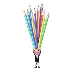 Businessman with crayons over white. Vector design.
