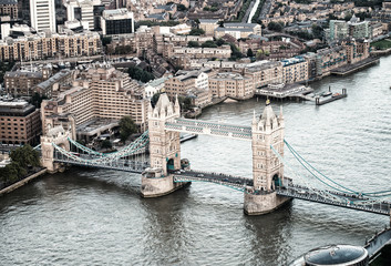 The Tower Bridge magnificence, aerial view of London