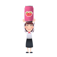 tin of strawberry juice. Vector design