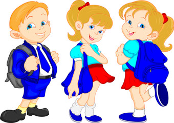 school boy and girls with bag