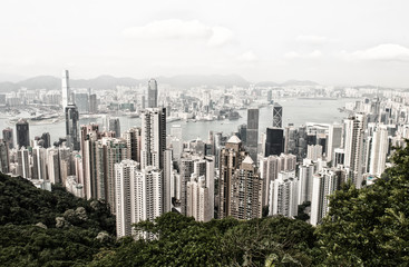 Hong Kong and Kowloon buildings. Aerial view of skyscrapers on a