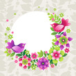 Bright wreath with colorful flowers and birds.