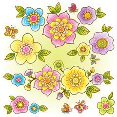 Vector set of bright colorful flowers.