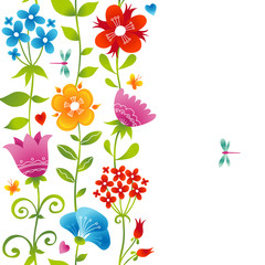 Bright spring seamless border with flowers.