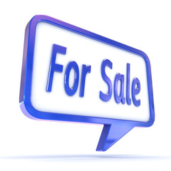 "Speech Bubble showing ""For Sale"""