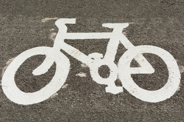 Cycle lane painted bicycle symbol