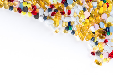 Colorful medication and pills from above with copy space