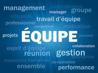 Nuage de Tags EQUIPE (travail esprit d'équipe management succès)