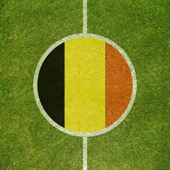 Football field center closeup with Belgian flag in circle