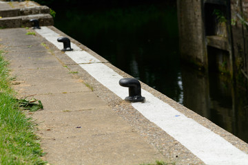 Boat mooring post at canal lock