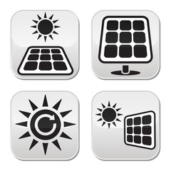 Solar panels, solar energy white buttons set