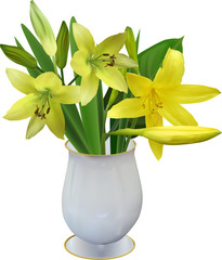 yellow lily in vase isolated on white