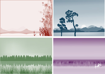 four landscapes with lakes