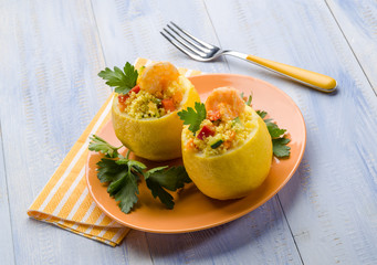 lemon stuffed with shrimp and couscous