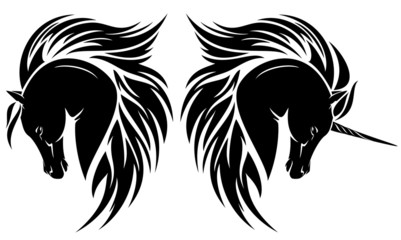 arabian horse head and unicorn tribal design