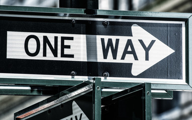One Way street sign in New York