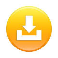Bouton internet arrow download icon orange sign