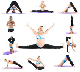 Collage of pregnant fitness woman make stretch on  pilates pose