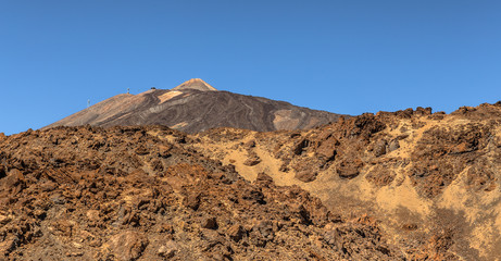 Teide volcano behind rocks in Tenerife
