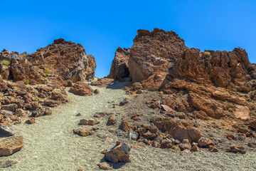 Desert of sand and volcanic rocks formed by the Teide volcano