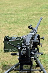 Machine gun on ground