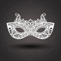 Beautiful Masquerade Mask (Vector) on Ornate Background