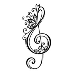Vector Floral Decorative Treble Clef. Patterned Musical Sign