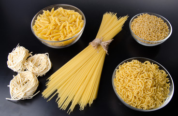 Different types of uncooked pasta