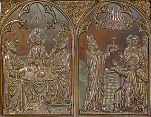 Bruges - Last supper of Jesus and the Abraham for Melchizedek