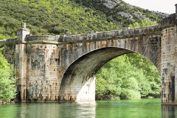 Old Stone Bridge over Ebro River.