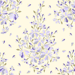 Abstract floral pattern seamless texture, watercolor
