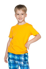Cute boy in yellow shirt