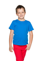 Smiling little boy in the blue shirt