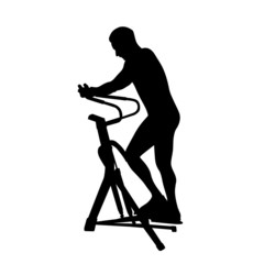 man exercising on gym machine vector silhouette