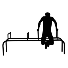 man doing exercises vector silhouette