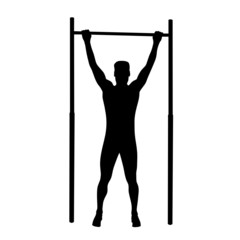 man doing pull-ups vector silhouette