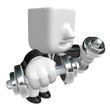 3d man holding their dumbbell together. 3D Square Man Series.