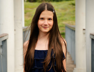 teen girl on the bridge closeup