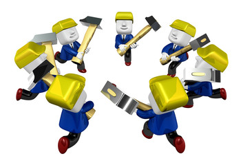 3d engineers working with their big hammer. 3D Square Man Series